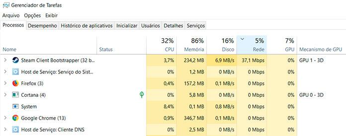 Aplicativos Consumindo Internet Gerenciador de Tarefas Windows 10