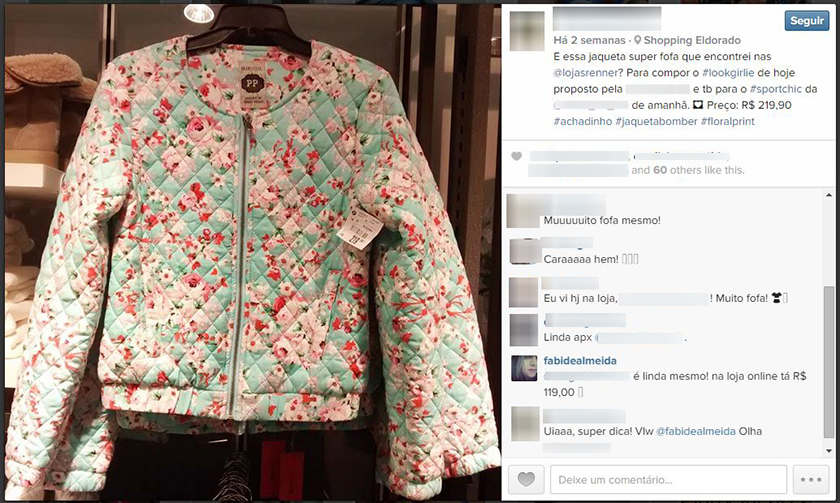 Preço jaqueta Renner comprar na loja