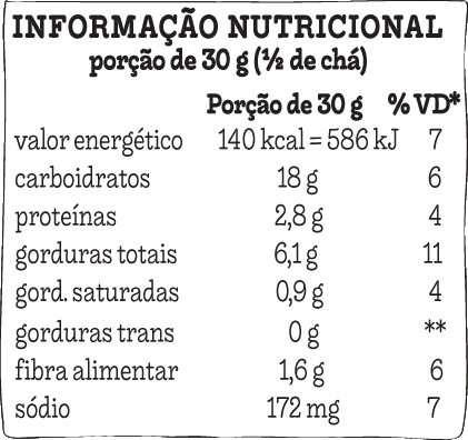 Tabela nutricional Tribos chili
