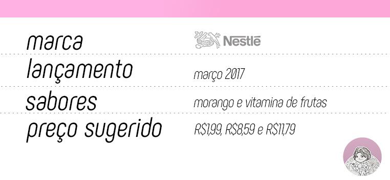 Tabela nova linha de iogurtes Nestlé