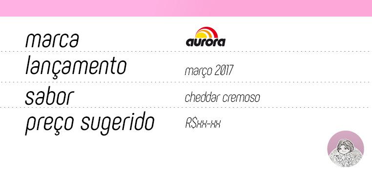 Tabela queijo processado Cheddar Cremoso Aurora