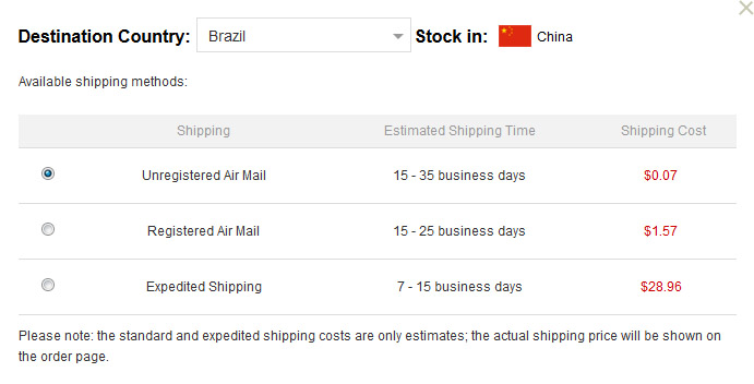 Frete GearBest para o Brasil