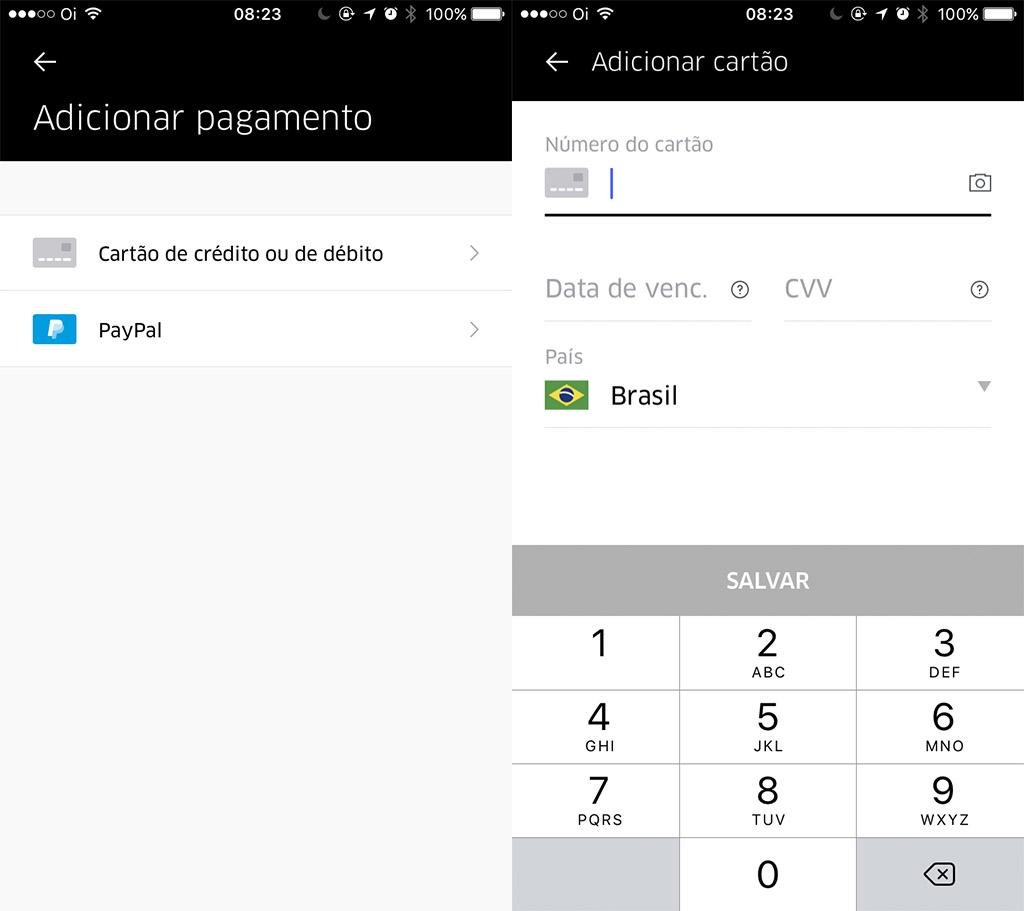 Como adicionar cartão de débito no Uber