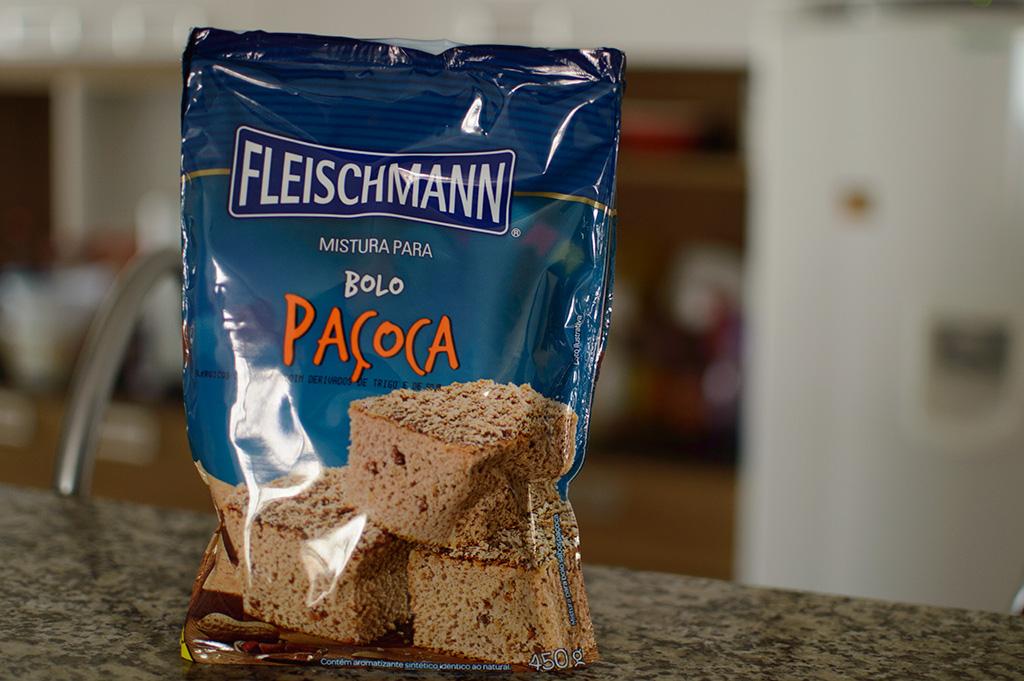 Mistura para bolo Paçoca Fleischmann embalagem