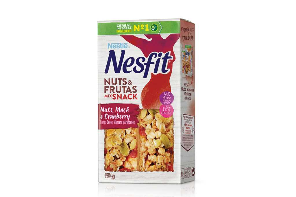 Nova barra Nesfit Nuts&frutas Mix Snack Nestlé