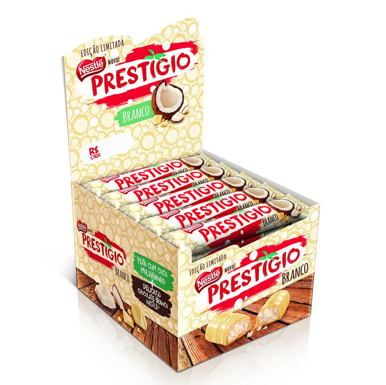 Novo Prestígio Chocolate Branco Nestlé display