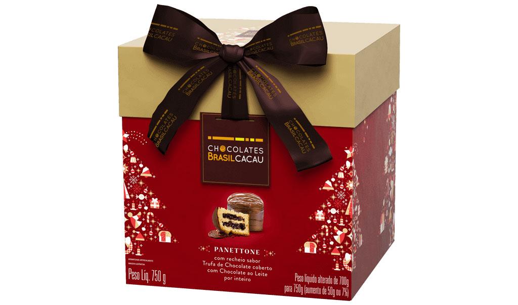 Panettone Trufado Tradicional, 750g Chocolates Brasil Cacau