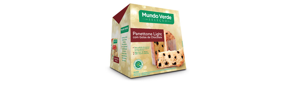 Panettone Mundo Verde Light com Gotas de Chocolate, 400g