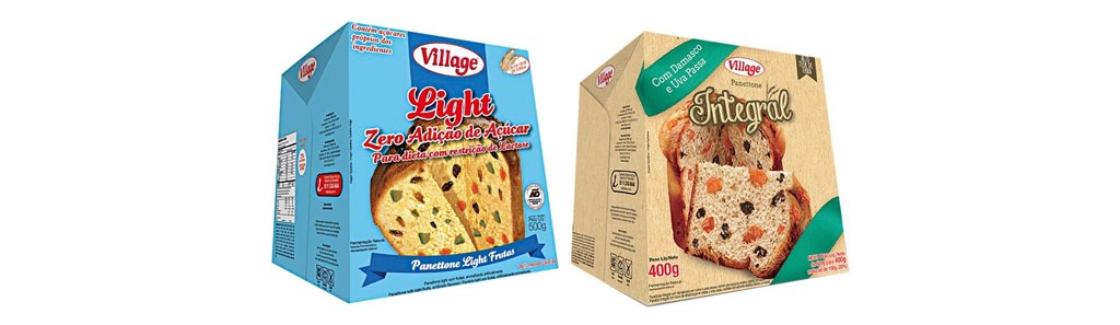 Panettone Village Light Frutas, 400g e Panettone Village Integral, 400g