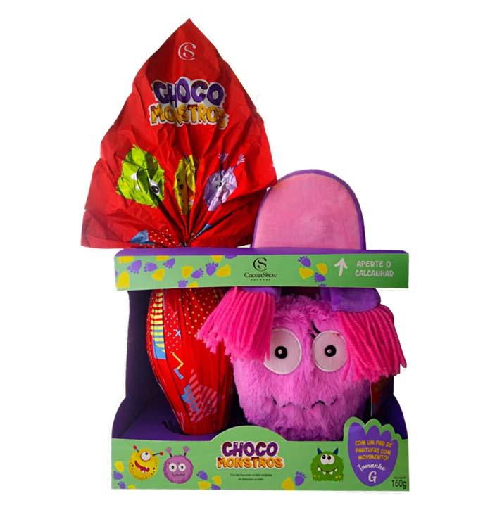 Ovo de Páscoa Choco Monstros Pantufa Rosa Cacau Show 160g