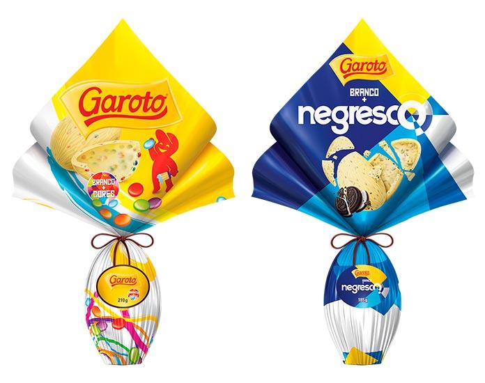 Ovos de Páscoa Garoto Brancos e Negresco Garoto