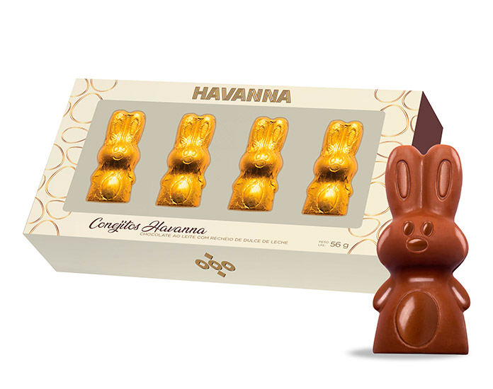 Coelhinho de Chocolate Recheado de Doce de Leite Havanna (56g)