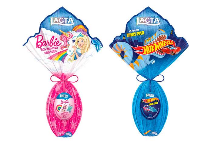 Ovos de Páscoa Infantis Lacta Barbie e Hot Wheels 2019