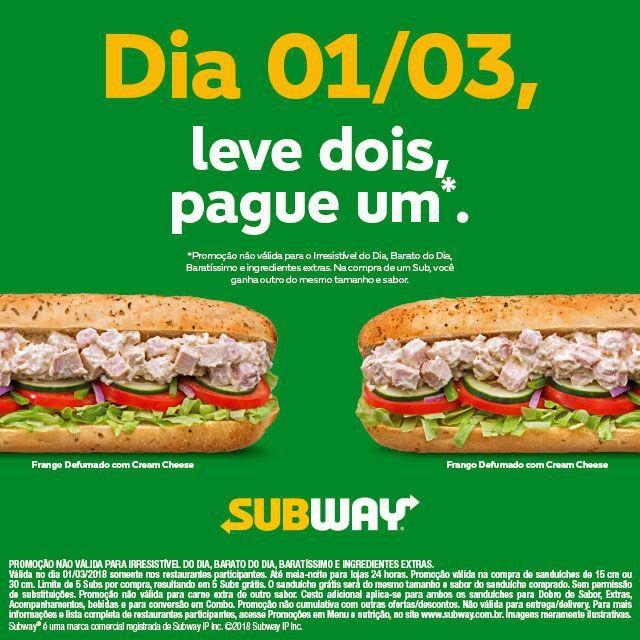 Promoção leve Dois, Pague Um Subway