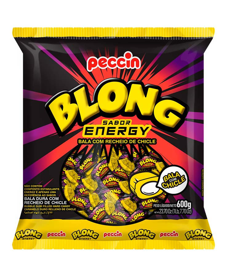 Bala Dura Recheio Chicle Blong Energy Peccin