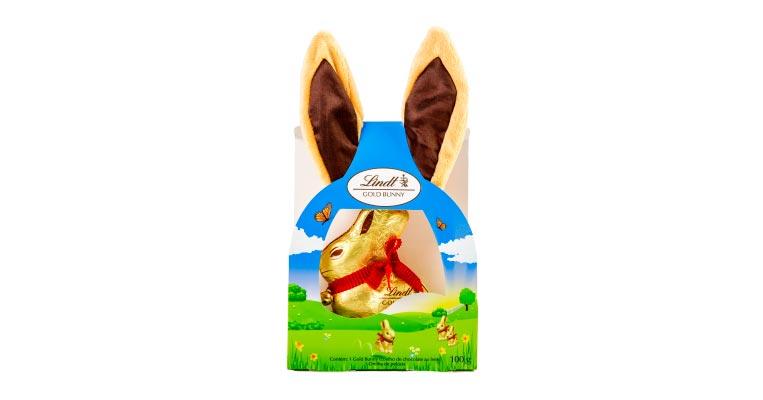 Gold Bunny Lindt Kids Com Orelha De Pelúcia 100g