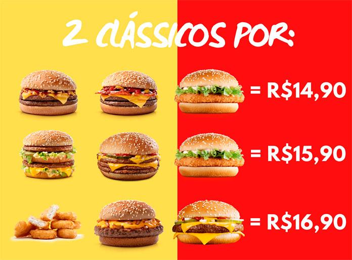 2 Clássicos por R$14,90, R$16,90 ou R$19,90 no McDonald's