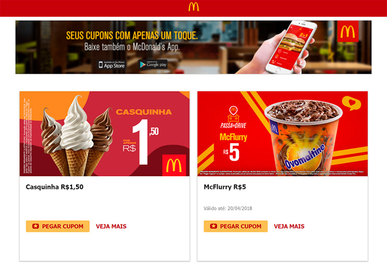 Cupons McDonald's 18/04/18