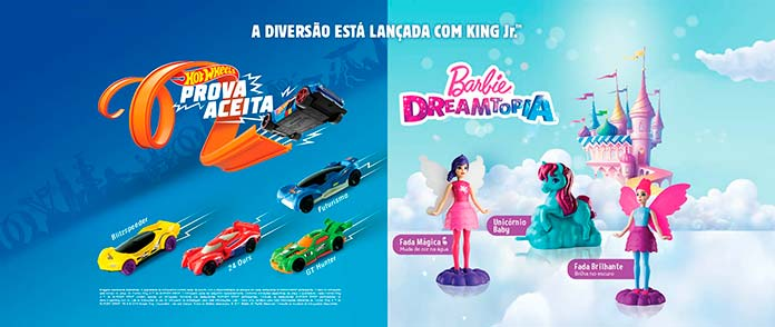 Brinquedos do Burger King 2019 Janeiro Barbie e Hot Wheels