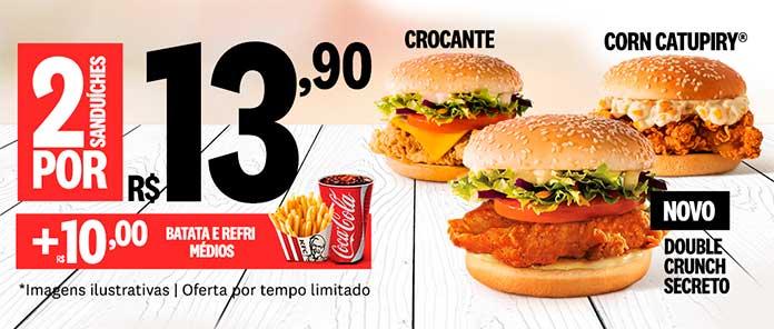 Promoção KFC Dois Lanches por R$13,90