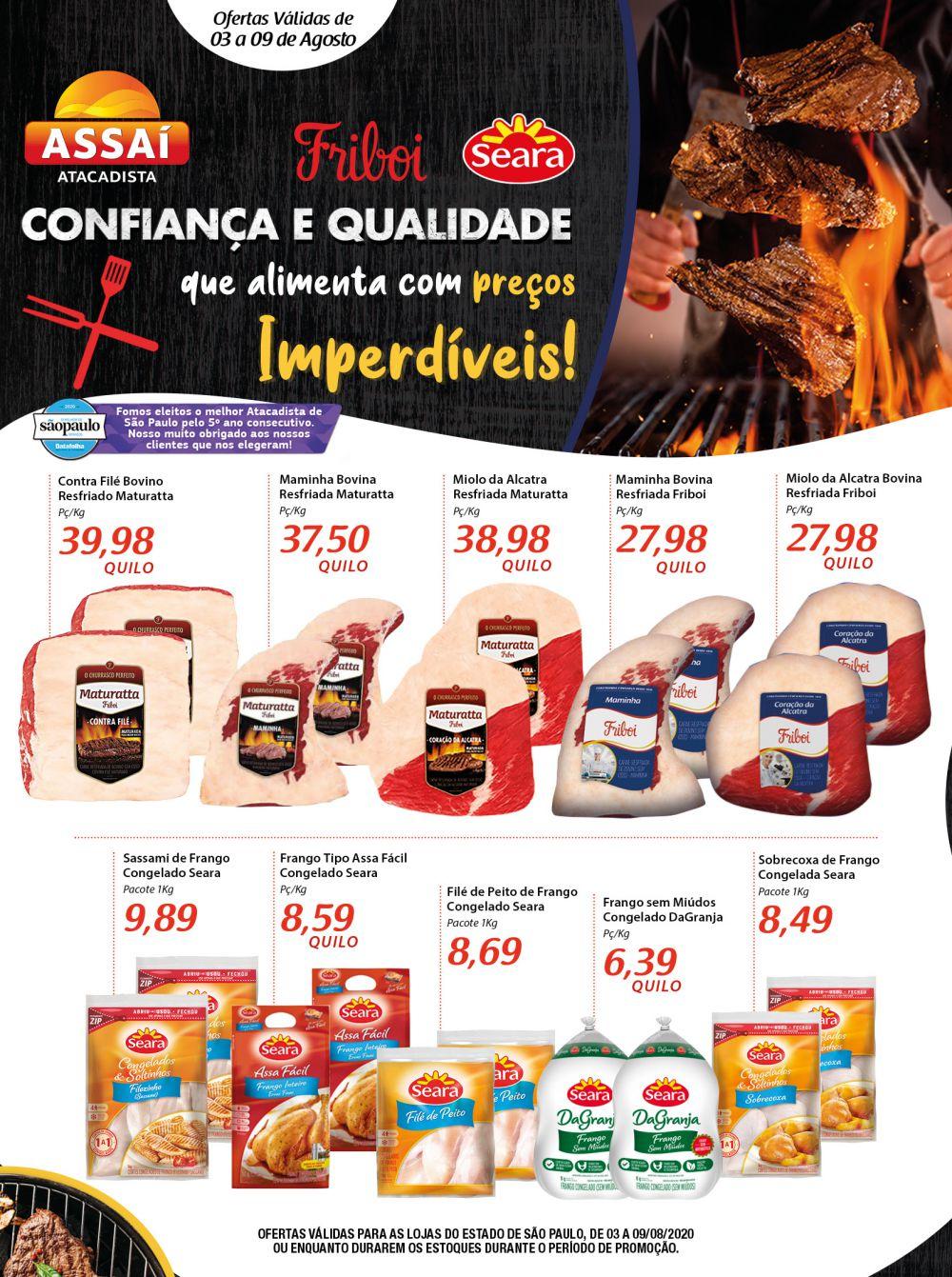 Encarte Assaí Ofertas de Carnes 03/08/2020 01