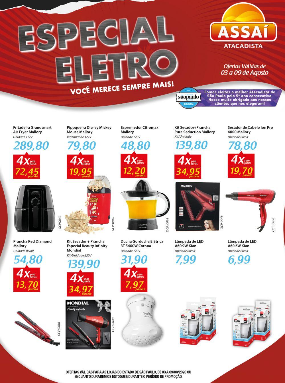Encarte Assaí Ofertas de Eletros 03/08/2020 01